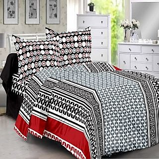 Welhouse Cotton Traditional  Grey  Double Bedsheet with 2 Contrast Pillow Covers(TC-129)