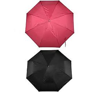 Combo Of Black And Coloured 3-Fold Umbrella (Pack Of 2)