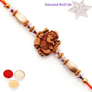 Rakhis Online-Ganesha Wooden Rakhi