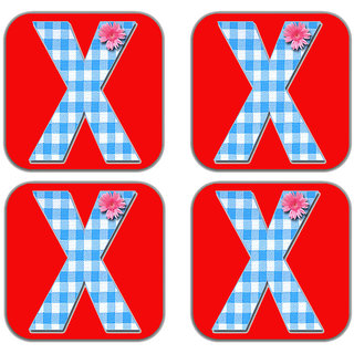 meSleep Alphabet X Wooden Coaster-Set of 4