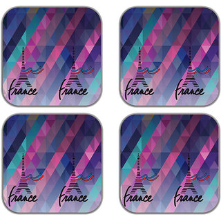 meSleep France Wooden Coaster-Set of 4