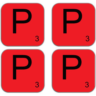 meSleep Alphabet P Wooden Coaster-Set of 4