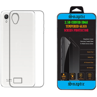 Snaptic Soft Transparent Back Cover for Reliance Jio LYF Wind 1 with 25D Curved Edge HD Tempered Glass