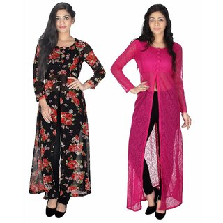 Sukuma Multicolor Georgette And Net Front Slit Printed Long Kurtis (Pack of 2)