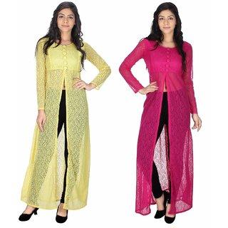 Sukuma Multicolor Net Front Slit Printed Long Kurtis (Pack of 2)