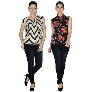 Klick2Style Multicolor Georgette And Crepe Round Neck Sleeveless Printed Top (Pack of 2)