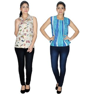 Klick2Style Multicolor Crepe Round Neck Sleeveless Printed Top (Pack of 2)