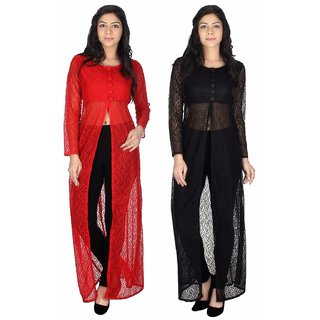 Sukuma Multicolor Net Front Slit Printed Long Kurtis (Pack of 2)