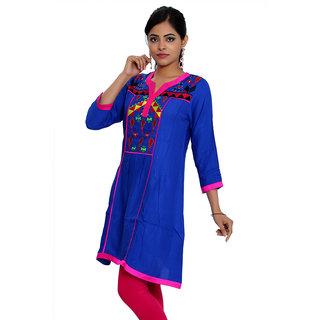 JPF Kurtis Blue Casual Embroidered 34 Sleeve  kurti for women D01246B