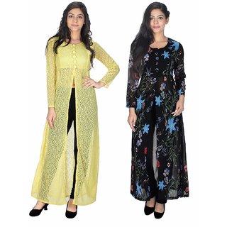 Sukuma Multicolor Net And Georgette Front Slit Printed Long Kurtis (Pack of 2)