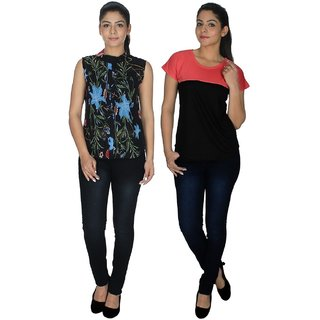 Klick2Style Multicolor Georgette And Viscose Round Neck Sleeveless Printed Top (Pack of 2)
