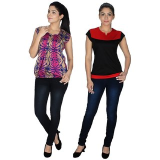 Klick2Style Multicolor Crepe And Viscose And Lycra Round Neck Sleeveless Printed Top (Pack of 2)