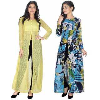 Sukuma Multicolor Net And Georgette Front Slit Printed Long Kurtis (Pack of 2)