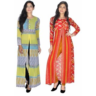 Sukuma Multicolor Georgette Front Slit Printed Long Kurtis (Pack of 2)