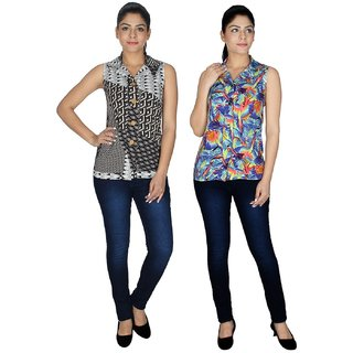 Klick2Style Multicolor Crepe Shirt Collar Sleeveless Printed Top (Pack of 2)