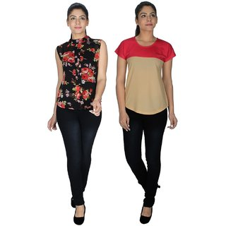 Klick2Style Multicolor Georgette And Viscose And Lycra Round Neck Sleeveless Printed Top (Pack of 2)