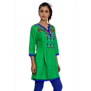 JPF Kurtis Green Casual Embroidered 34 Sleeve  kurti for women D01246G