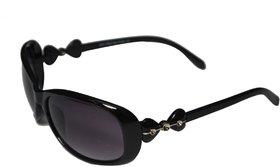 Women Black Oval Shape Sunglasses
