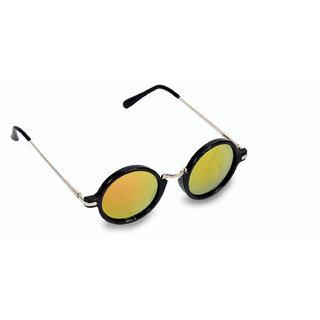 Women  Men Yellow Mercury Round Sunglasses