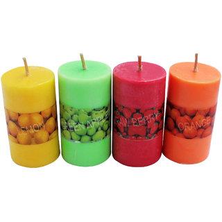 4pcs! Mini Pillar Scented Wax Candles Birthday Christmas Decorative Candle