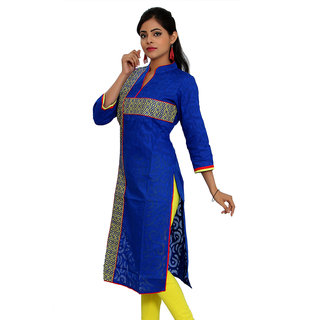 JPF Kurtis Blue Casual Embroidered 34 Sleeve Embroidered Lace kurti for women D01570B