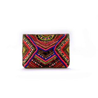 Diwaah!! Hand crafted multi embroidered zip top pouch
