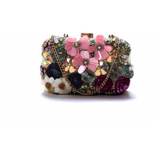 Diwaah!! Hand crafted multi embroidered box clutch