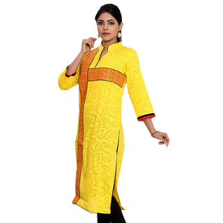JPF Kurtis yellow Casual Embroidered 34 Sleeve Embroidered Lace kurti for women D01570Y