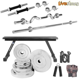 LiveStrong 55 kg chrome steel plates  home gym combo 6
