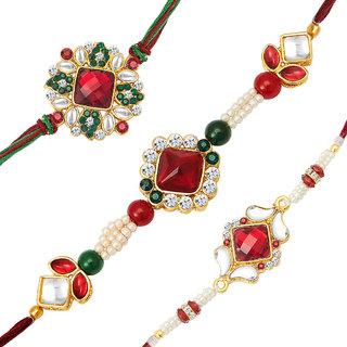Sukkhi Gold Plated Set of 3 Designer Rakhi Combo