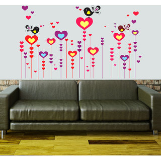 New Way Decals- Wall Sticker (7551)Colourful Hearts With Flying Birds