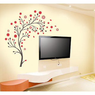 New Way Decals- Wall Sticker (7552) Flowers as TV Background