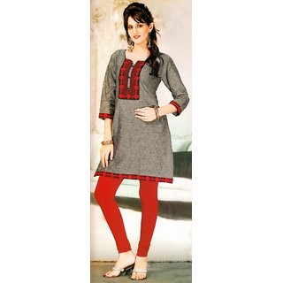 1656 XXL Cotton Purple Embroidered Ethnic Kurti
