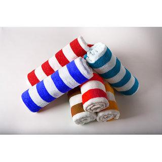 Handloomdaddy 100% Cotton Pack Of 4 Stripe Design Hand Towel