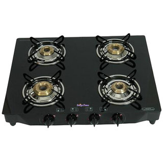 Surya Flame SFBL-GL-1484B 4 Burner Gas Cooktop Glaze Black