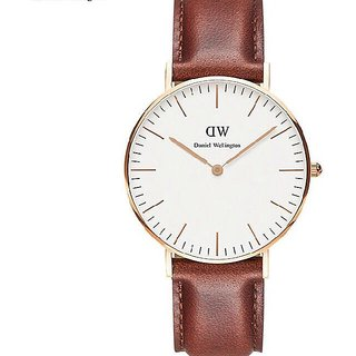 Stylish Unisex wear watch in Brown Leather