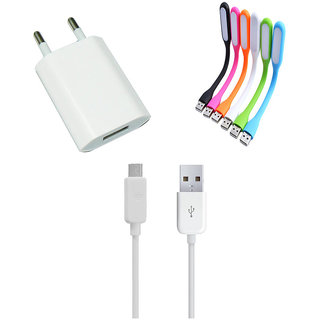 USB Travel Charger and Flexible USB LED Lamp Combo for Intex Aqua Glam