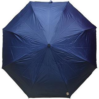 Murano 3 Fold Auto Open Blue Color Golden Handle Stylish Umbrella for Unisex