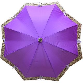 Murano Stairght puple color with Leopard Design Beautiful Umbrella for Women