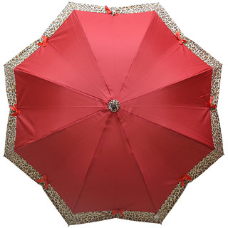 Murano Stairght Maroon Color with Leopard Design Fashion Umbrella for women