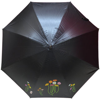 Murano Stairght Black Color Daisy Flower Stylish Umbrella for Unisex