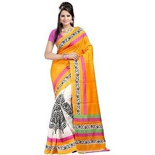Neo Designer Golden Bhagalpuri Fabric Sarees