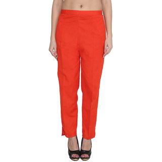 NumBrave Orange Cotton Comfort Fit Mid Rise Solid Womens Formal Trouser