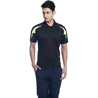 Shiv Naresh Solid Mens Polo Neck Black T-Shirt