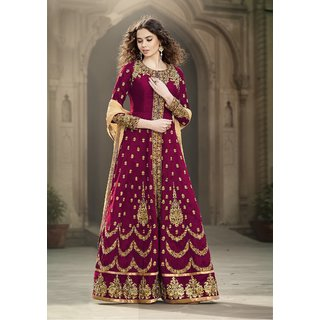 Craftliva Magenta  Beige Embroidered Banglori Silk Anarkali Suit