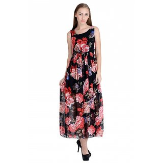 Raabta Black with Multi Color Printed Monika Long Dress