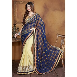 Blue  Cream Party Wear Saree