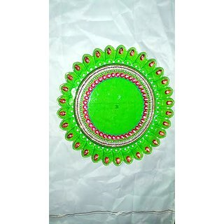 Acrylic Decorated Pooja Thali With Green Colour