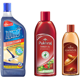 Combo pack of LUMO Floor Cleaner (500 ml+100 ml extra) + PUKHRAJ Thanda Hair Oil(200 ml) + Almond Hair Oil (200 ml)