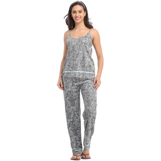 Dark Grey Camisole Top  Pyjama With Lacy Trims